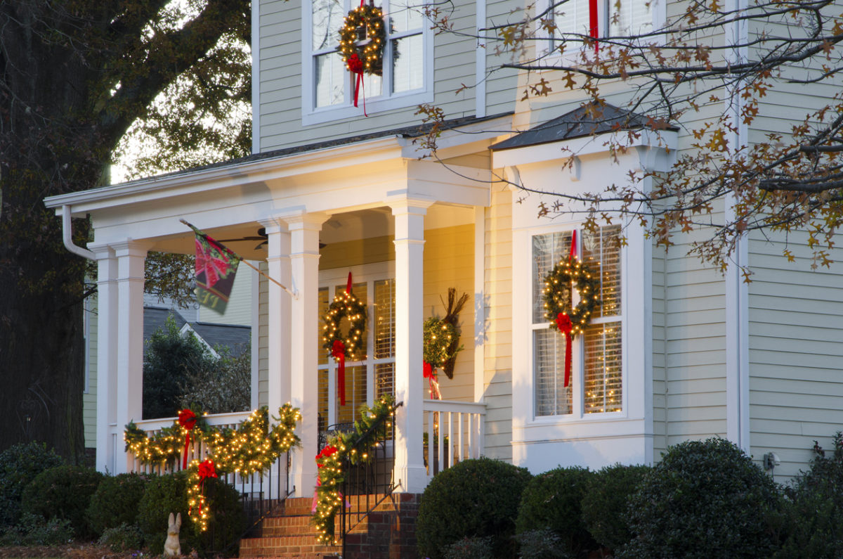 A house that is decorated and ready to sell during the holidays.